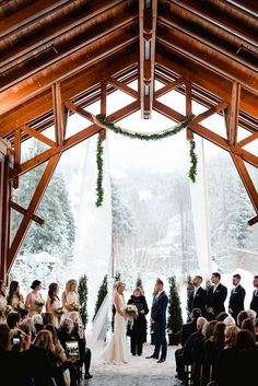 Incredible winter wedding ceremony @Nita Lake Lodge under our beautiful Porte-Cochere Photo collection by Christie Graham Photography