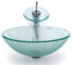 Kraus C-GV-500-12mm-10 Broken Glass Vessel Sink And Waterfall Faucet.