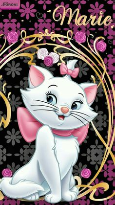 Find the best Marie Aristocats Wallpaper on WallpaperTag. Cartoon Wallpaper, Cute Disney Wallpaper, Wallpaper Iphone Disney, Cat Wallpaper, Wallpaper Wallpapers, Iphone Wallpapers, Gatos Disney, Disney Cats, Disney Pixar