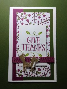 Inspired Stamping by Janey Backer: New Stamps!, Stampin' Up!, Thankful Forest Friends, fall, harvest, thanksgiving, thank you card, Into the Woods