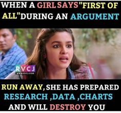 I think every girl have argument POWER.What do you think? Very Funny Memes, Funny School Jokes, Some Funny Jokes, Funny Relatable Memes, Funny Facts, Best Friend Quotes Funny, Bff Quotes, Jokes Quotes, Funny Quotes
