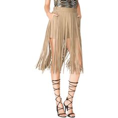Tamara Mellon - Fringe Skirt Short - Sand - 6 ($329) ❤ liked on Polyvore featuring shorts, apparel & accessories, skirts, midi shorts, tamara mellon, multi colored shorts, colorful shorts and ruffle shorts