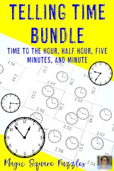 Are your students working on telling time? Then you're going to love the 74 different, differentiated math puzzles included in this bundle! Your students will work on telling time to the hour, half hour, five minutes, and nearest minute. They'll work for differentiation in your 1st, 2nd, 3rd, or 4th grade classroom - and homeschool students will love it as well! Click through to see how these will work for centers, review, GATE, and much more! Great math center resource! $