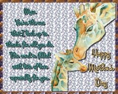 Sweet giraffe wishes for a mum you look up to! Free online Mum I Look Up To You ecards on Mother's Day Big Hugs For You, Hug You, Mother Day Wishes, Happy Mothers Day, Warm Hug, Love Hug, Youre The One, Mum Birthday, Mom Day