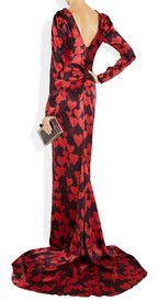 LanvinHeart-print silk-satin gown