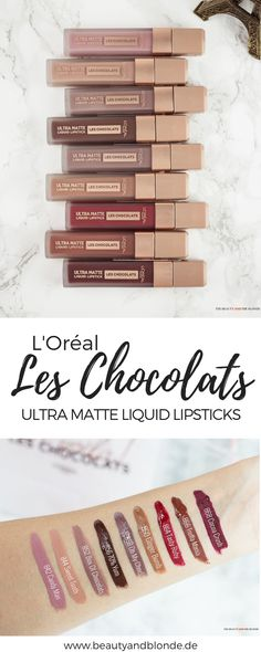 The L& Les Chocolats Ultra Matte Liquid Lips are brand new in the drugstore . - The L& Les Chocolats Ultra Matte Liquid Lipsticks for around € 10 are brand new in the - Drugstore Lipstick, Lipgloss, Lipstick Swatches, Lipstick Colors, Best Liquid Lipstick, Mauve Lipstick, Drugstore Beauty, Beste Concealer, Beste Mascara