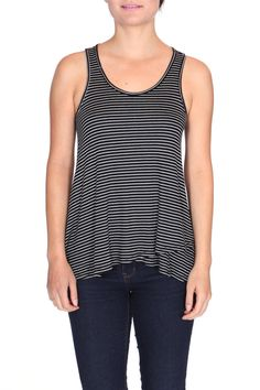An essential piece for the season, this soft tank has a classic stripe pattern that is easy and chic. A versatile piece that you will wear again and again.    Striped Crossover Tank  by ShopGoldies. Clothing - Tops - Tees & Tanks California