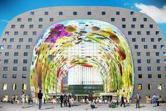Markthal, Rotterdam, Netherlands, mvrdv. Aaron Betsky examines a MVRDV Market Hall covered by an inhabitable multifamily arch.