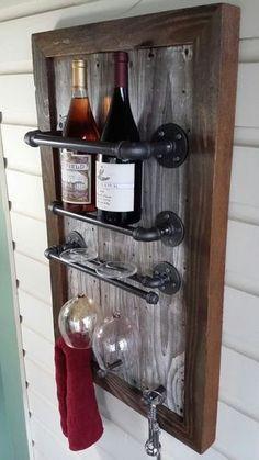 Wine Rack, Reclaimed Wood, barn wood, Industrial, pipe, wine julia, on Etsy, $179.40 CAD #wineracks