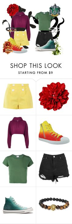 """Gryffindor vs Slytherin - Group Contest - read the d"" by hipstermonkey12 ❤ liked on Polyvore featuring Boutique Moschino, River Island, Burnetie, RE/DONE, Converse and smile"