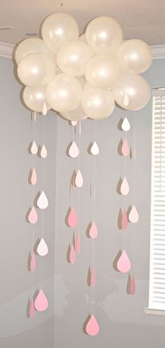 Ideas para Baby Shower con globos con nubes
