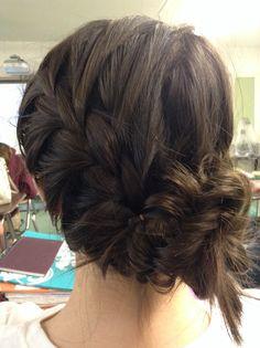 French braid with a messy fishtail bun. Thank you Emily Kennington