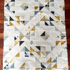 Waiting on backing for this crib quilt! Pattern is by by Scrap Quilt Patterns, Quilting Ideas, Quilting Projects, Sewing Projects, Sewing Circles, Charm Quilt, Half Square Triangle Quilts, Toddler Quilt, Indian Summer