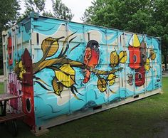 The cool thing about container homes is you can be creative with the outside! How awesome is this mural?!  #containerhome #casacontenedor #casacontainer #customhome #outdoors #nature #nashville #nashvillehomes #nashvillebuilder #modern #mancave #modernart #modernhome #monarchdevelopment #artdeco #architecture #prefab #homebuilder #househunters #decor #sheshed #ecoliving #eco #woods #travel #tinyhouse #thegreatoutdoors #tinyhousemovement by monarchdevelopment