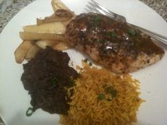 Caribbean Chicken with Black Beans, Caramelized Mango & Saffron Rice