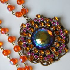 Vintage Czech  Orange and Fuchsia Glass Re-Purposed Button Pendant Beaded Necklace Sunset Orange Beaded Pendant
