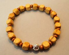 Men's Light Brown Cube-shaped Wood Cross Stretch Bracelet by SoFineDesigns on…