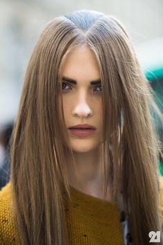 #LaraMullen with her Ann Demeulemeester hair. Paris. #Le21eme #AdamKatzSinding