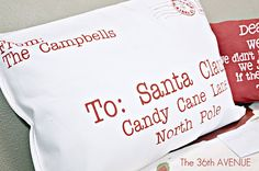 "Tutorial for ""Letter to Santa"" pillows - These are made from napkins but you could easily make them from regular fabric."