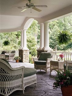 This front porch looks like the perfect place to spend a relaxing afternoon with neighbors and friends.
