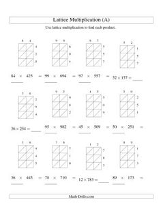 Lattice Multiplication: Blank forms for 2x2 and 2x3 ...
