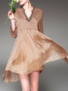 Shop Midi Dresses - Khaki Beaded Solid Frill Sleeve Midi Dress online. Discover unique designers fashion at StyleWe.com.