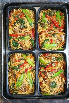 Lo Mein Meal Prep - Save time, money and calories when you prep for the entire w. - FOOD M. Lo Mein Meal Prep - Save time, money and calories when you prep for the entire w. Vegetarian Lo Mein, Vegetarian Meal Prep, Lunch Meal Prep, Meal Prep Bowls, Easy Meal Prep, Healthy Meal Prep, Vegetarian Recipes, Easy Meals, Healthy Recipes