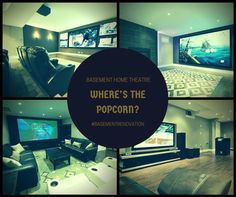 Designated #Basement Home Theatre areas can be divided into three categories: Projection, Wall Mount or #Entertainment Unit. Read more : http://www.finishedbasement.ca/finished-basement-ideas/basement-home-theatre/?utm_content=bufferb12a7&utm_medium=social&utm_source=pinterest.com&utm_campaign=buffer