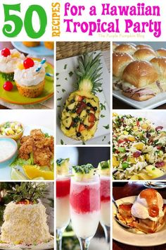 50+ Recipes for a Hawaiian Tropical Party. All the food & drink ideas you need from burgers, salads, and pork dishes, to desserts and drinks, there is a Hawaiian Tropical recipe for all! #HawaiianRecipes #hawaiianparty #TropicalRecipes #Recipes #HawaiianPartyRecipes #ThePurplePumpkinBlog #PartyFood Luau Theme Party, Party Food Themes, Hawaiian Luau Party, Hawaiin Party Food, Tiki Party, Hawaiian Theme Food, Food For Luau Party, Luau Party Ideas For Adults, Hawaiian Themed Parties
