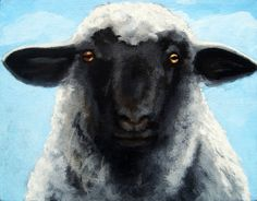 Black Faced Sheep realistic Farm animal painting, painting by artist Linda Apple