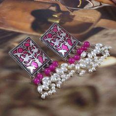 Jhumki Earrings, Indian Earrings, Indian Jewelry, Silk Bangles, Jewelry Sets, Unique Jewelry, Silver Jewelry, Handmade Wire Jewelry, Pearl White