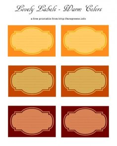 Free Printable: Labels/Tags in Warm Colors
