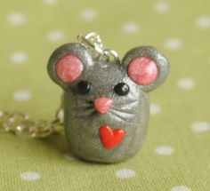 Kawaii Mouse Polymer Clay Charm Necklace. $17.00, via Etsy.