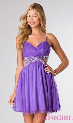 Short Spaghetti Strap Glitter Party Dress at PromGirl.com || really love this one too!