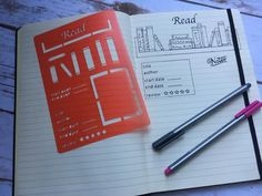 Book review/tracker stencil for bullet journal