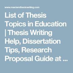 sample dissertation topics in education