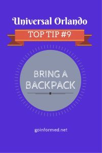 Universal Orlando Top Tip #9: Bring a Backpack