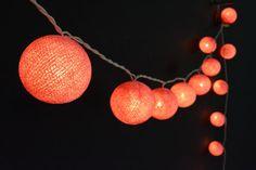 35 Lights - Light Coral Cotton Ball String Lights Fairy Lights Patio Lights Wedding Lights Decoration Lights