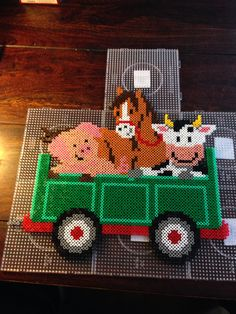 Farm animals hama perler beads by Dorte Marker Hama Beads Design, Diy Perler Beads, Hama Beads Patterns, Perler Bead Art, Pearler Beads, Fuse Beads, Beading Patterns, Farm Animal Crafts, Farm Animals