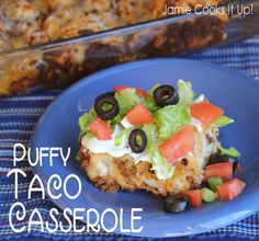 Puffy Taco Casserole from Jamie Cooks It Up! I make with scratch biscuits instead of pillsbury.