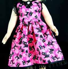 Handmade American Girl Doll clothes brought to you by HoM for Katrinka Doll Designs. this Punky Kitty dress $18 Free Shipping