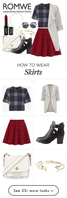 """""""Flare Red Skirt"""" by demetriab on Polyvore featuring Tory Burch, rag & bone, Kate Spade, NYX, Charlotte Russe, Aéropostale, Wood Wood, Wallis, Boots and romwe"""