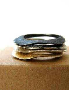 Stacking Rings | NAFSIKA Designs.  Sterling silver, with different patina and one with gold plate.