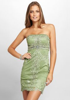 SUE WONG Strapless Bodice Detail Dress