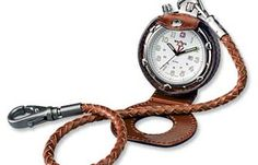 A pocket watch fob made of leather has a more rustic appeal than the metal fob