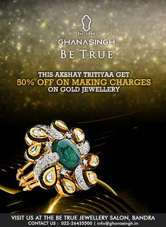 """What could be more suited for """"A Poetic Design"""" created by one of 'Be True' Collection's master craftsmen? Let this enchanting beauty of cabochon emerald bring radiance into your life on Akshay Tritiyaa."""