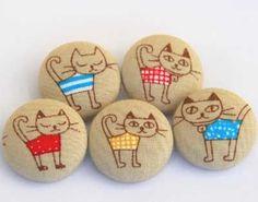 botones forrados - Gatos (pintados o bordados):