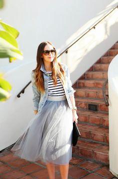 black and white stripe shirt, statement necklace and tulle skirt | Merricks Art