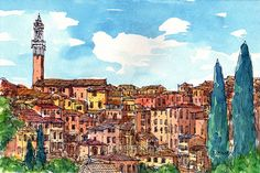 Siena Italy art print from an original watercolor by AndreVoyy
