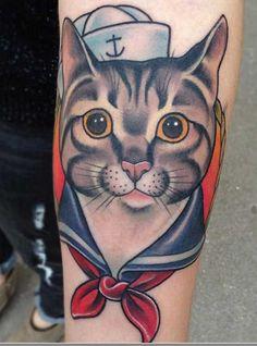 Adorable Sailor Kitty Tattoo